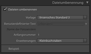 Lightroom CC - Dateien beim Import umbenennen