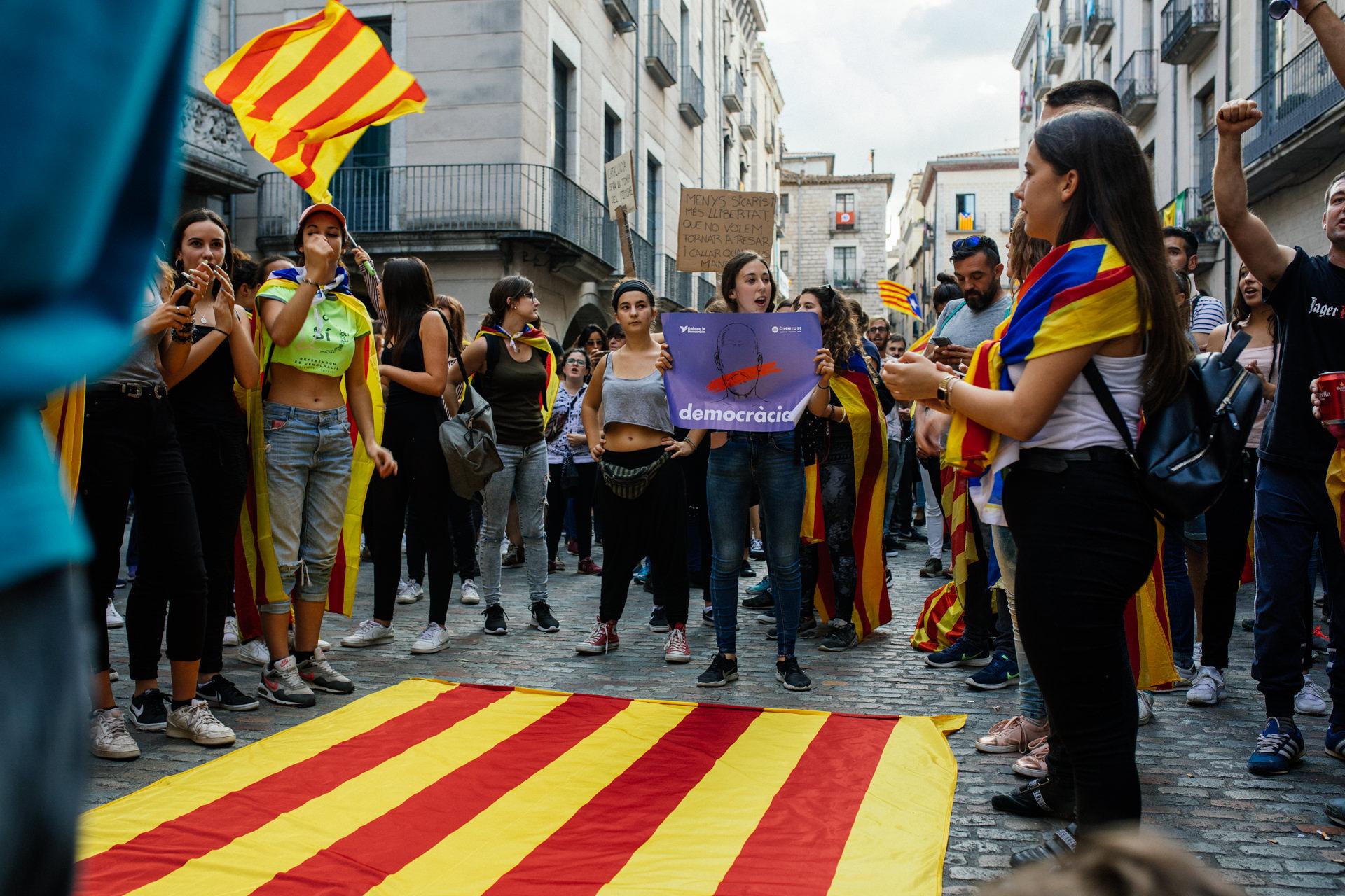 Proteste zum Unabhängigkeitsreferendum in Girona 2017