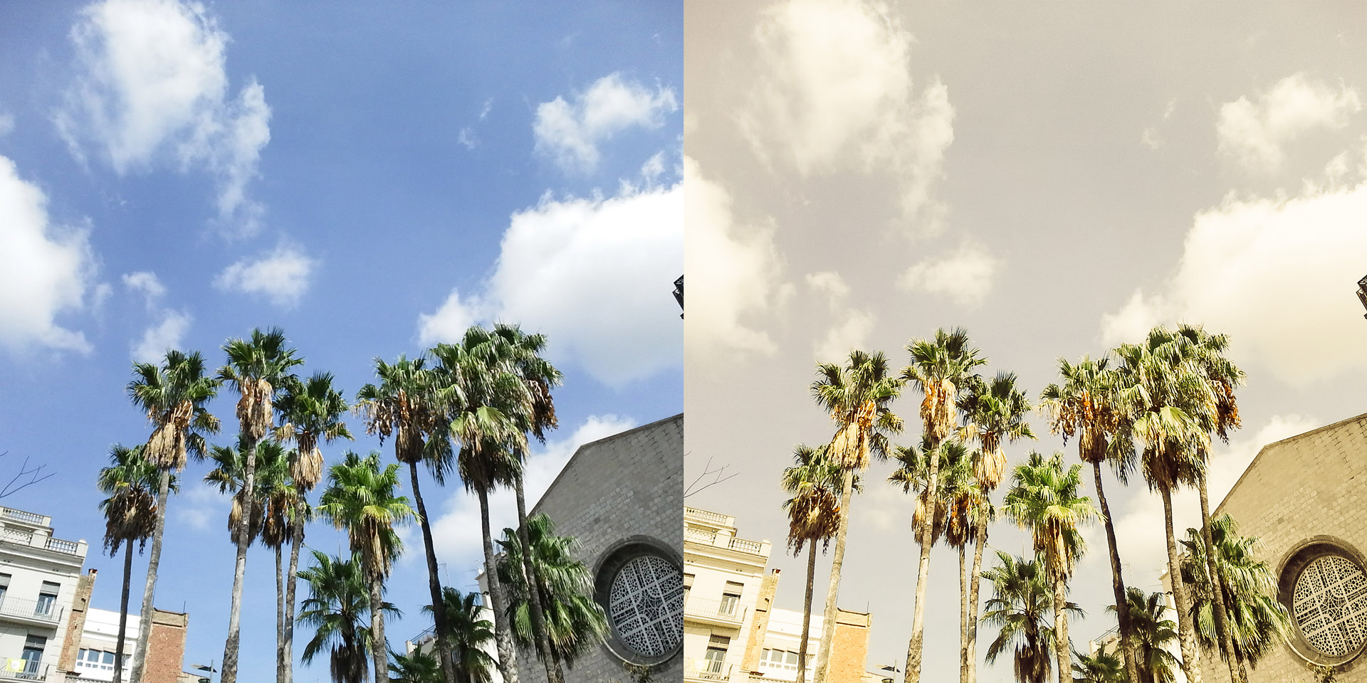 Digitale Datei aus der Fuji SQ 10 – Ohne bearbeitung links, mit Bearbeitung rechts