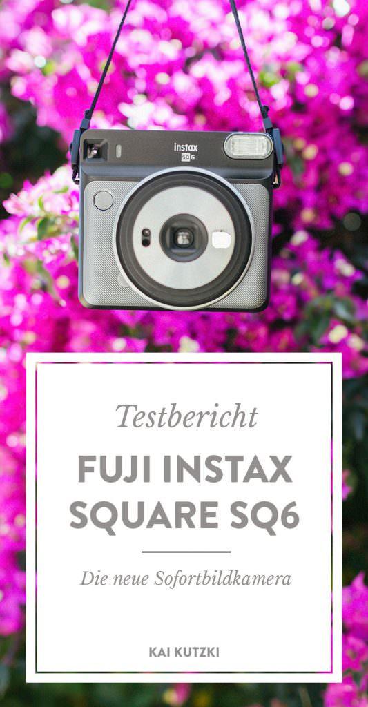 Fuji Instax SQ 6 vor pinken Blütenblättern