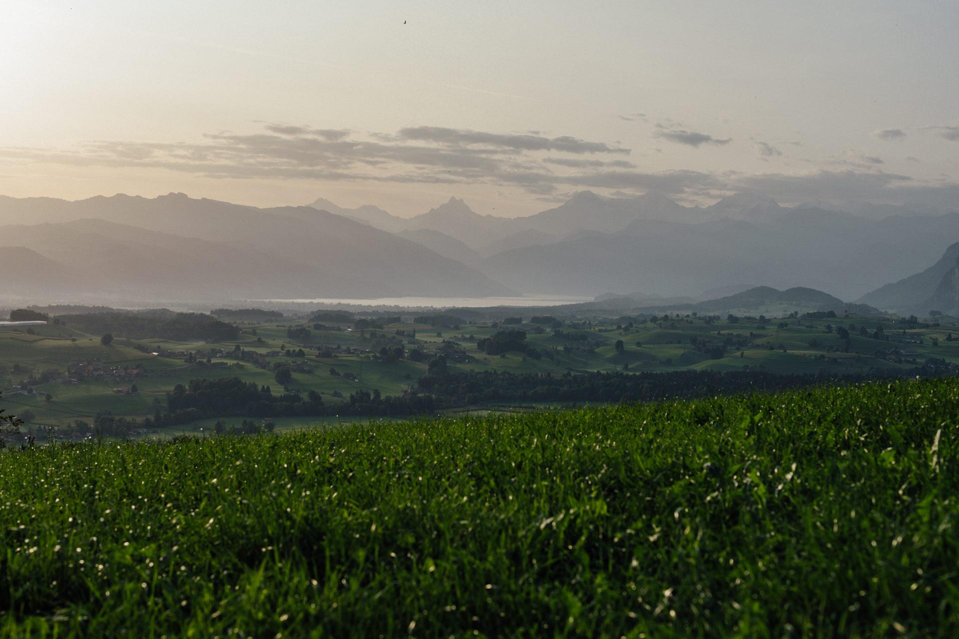 Landschaftsfoto vom Thunersee mit 50mm Teleobjektiv fotografiert