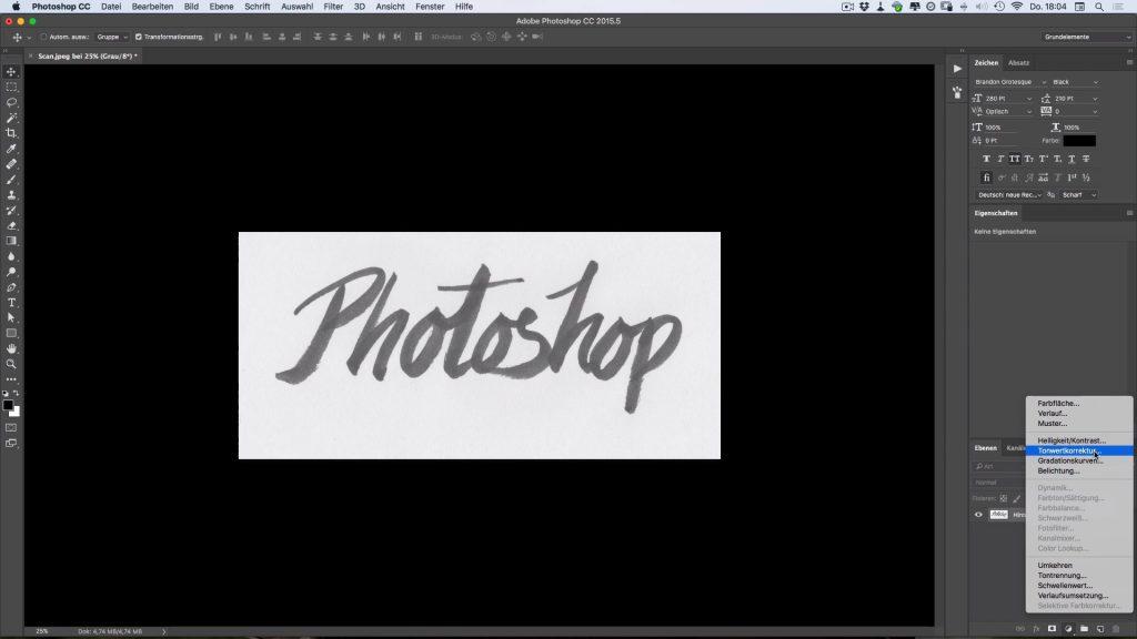 Einstellungsebene Tonwertkorrektur in Photoshop