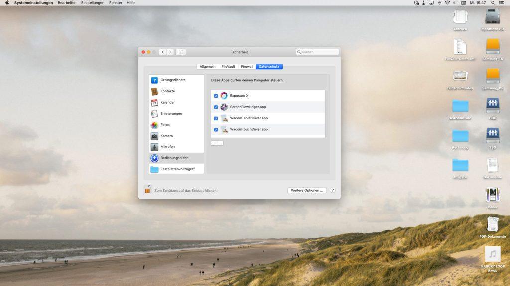 Systemsteuerung von Mac OS X Mojave mit den Bedienungshilfen in den Sicherheitseinstellungen