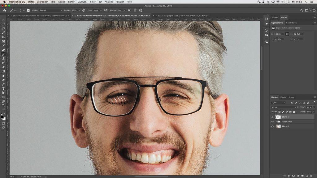 Mit Dodge and Burn optimiertes Bild eines Gesichts
