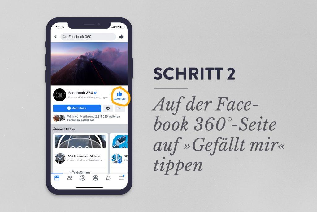 """Schritt 2: Auf der Facebook 360°-Seite auf """"Gefällt mir"""" tippen oder klicken"""