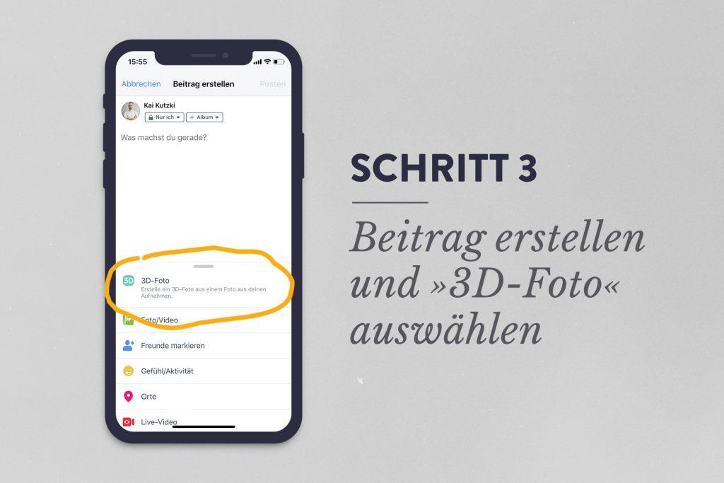 Facebook 3d-Foto erstellen Schritt 3: Beitrag erstellen und 3D-Foto auswählen