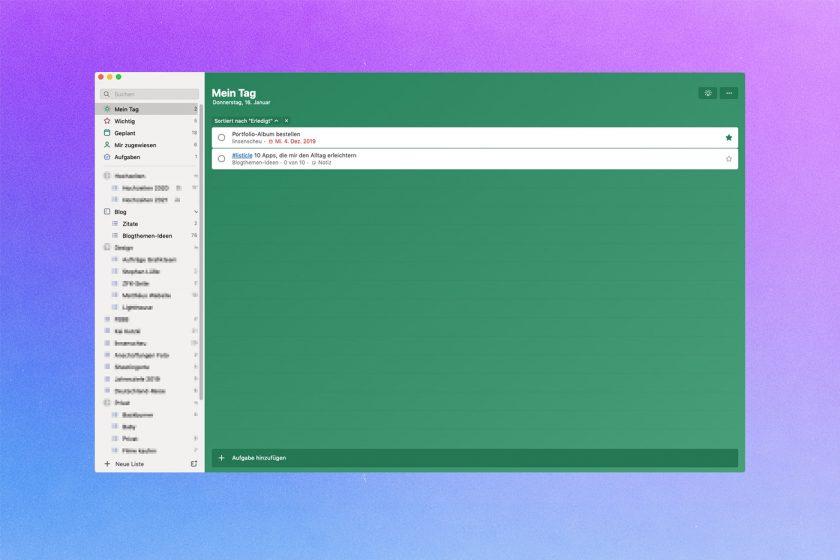 Screenshot von Microsoft ToDo