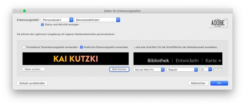 Im Editor für Erkennungstafeln kannst du in Lightroom Classic dein eigenes Logo einbauen