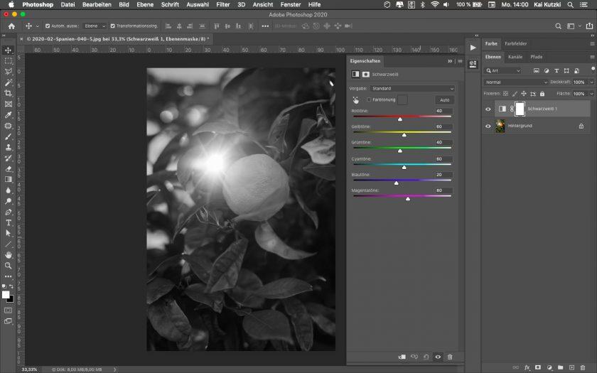 Bilder in Photoshop in Schwarzweiß umwandeln