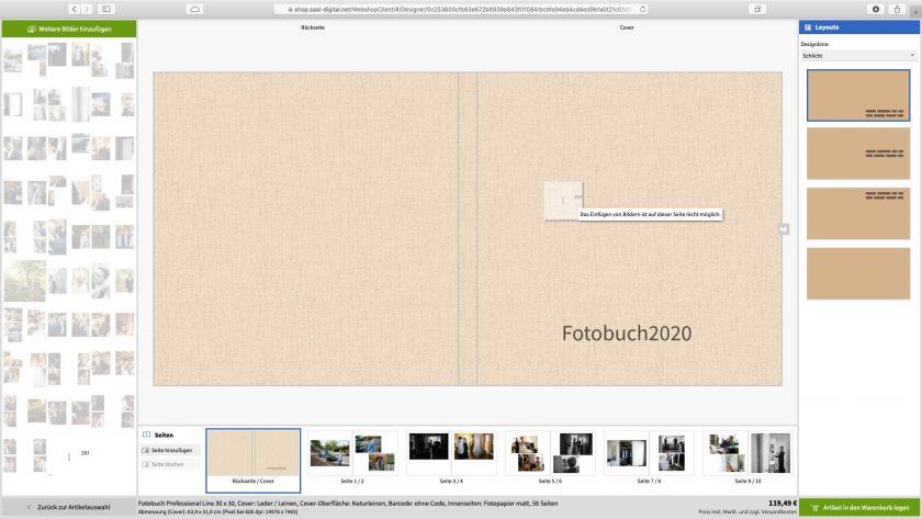 Screenshot von einem Fehler bei der Gestaltung des Leinen-Covers eines Fotobuchs im Saal-Digital-Webshop
