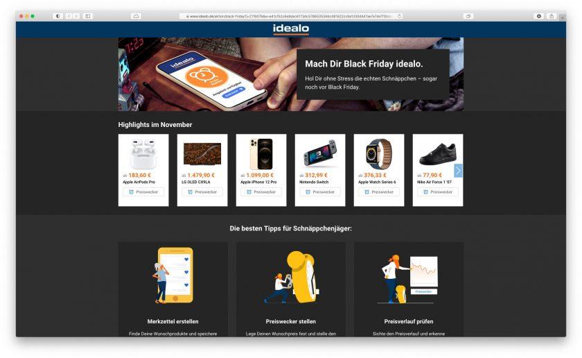 Screenshot der idealo.de-Black Friday-Seite